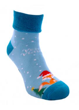 Foxysoxy froté dámske ponožky LÍŠKY VESELÉ VIANOCE